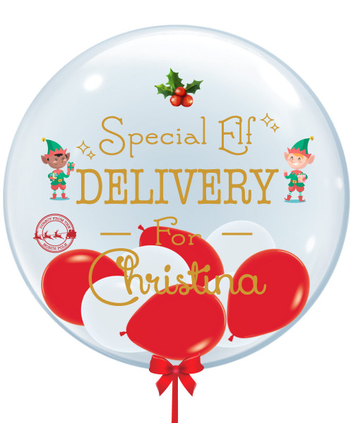 "[Merry Christmas] Personalised Name 24"" Crystal Clear Balloon (Mini Fashion Balloons Filled) - Special Elf Delivery"
