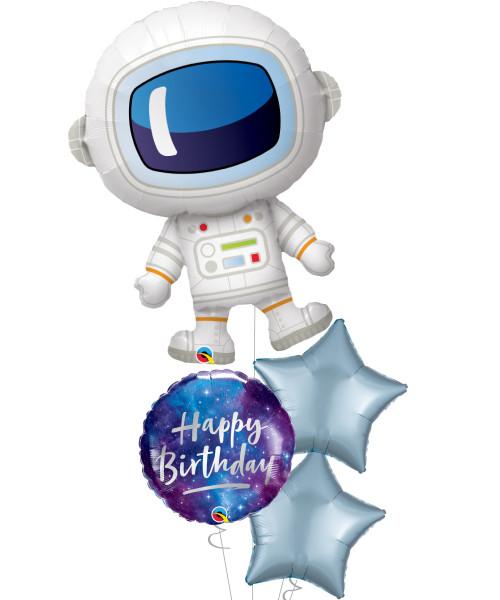 [Astronaut/Space] Iridescent Astronaut Navy Pastel Blue Balloons Bouquet