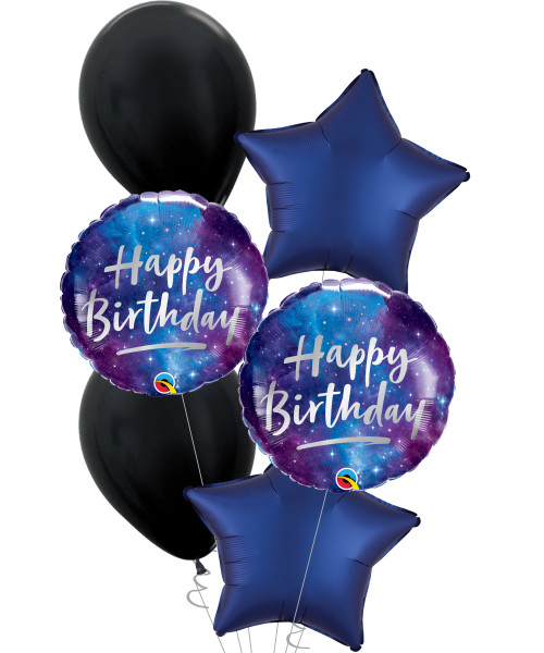 [Astronaut/Space] Happy Birthday Galaxy Satin Luxe Navy Star Balloons Bouquet
