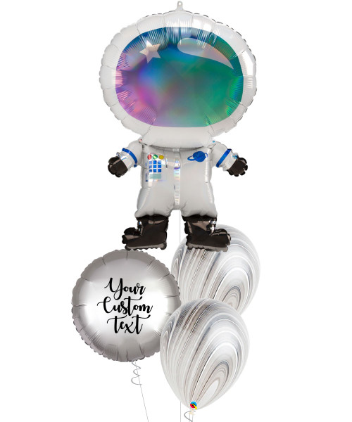 [Astronaut/Space] Personalised Iridescent Astronaut Silver Balloons Bouquet