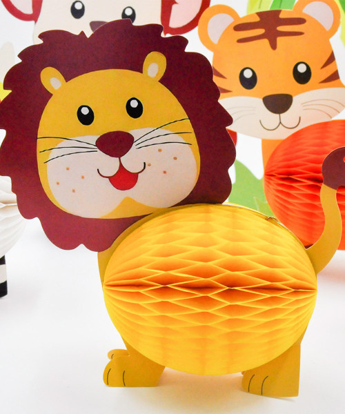 Decorative Honeycomb Ball Set (7 Designs) - Jungle Animals