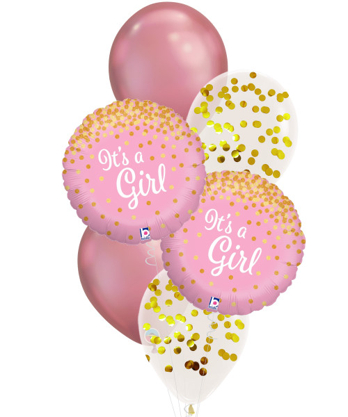 [Baby] Glittering Confetti It's A Girl Balloons Bouquet