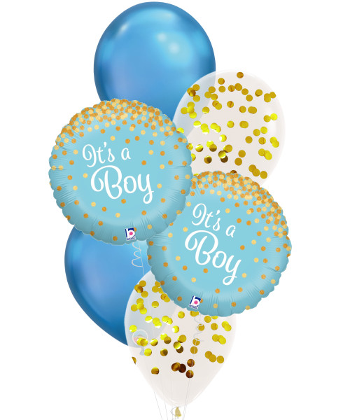 [Baby] Glittering Confetti It's A Boy Balloons Bouquet
