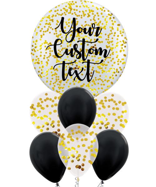 36'' Personalised Jumbo Round Perfectly Round Balloons Cluster - Round Confetti (1cm)
