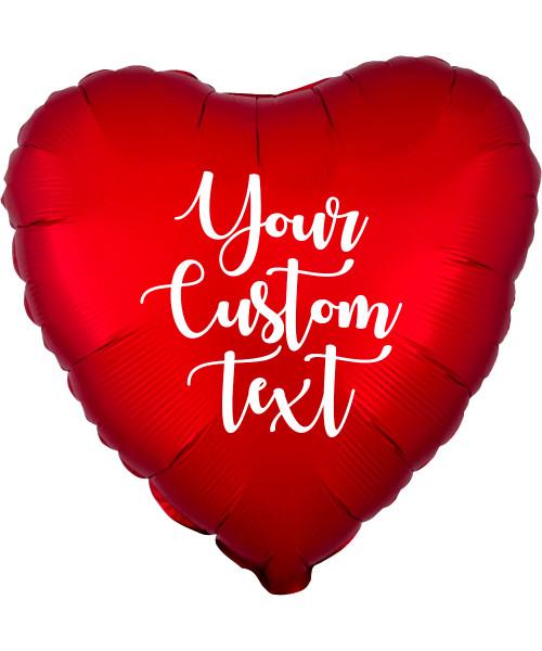 """18"""" Personalised Satin Luxe Heart Foil Balloon - Sangria Red"""
