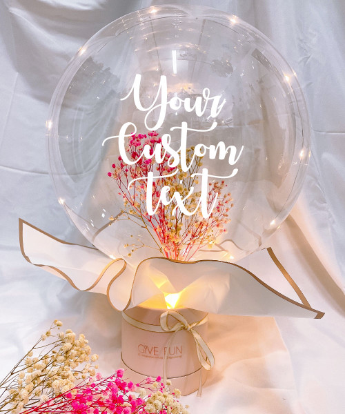 [Happy Valentine's Day] Personalised Aqua Balloon Bouquet Box -  LED Bubbly Blush