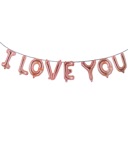 "[Happy Valentine's Day] 16"" I Love You Alphabet Foil Balloons Banner - Rose Gold"