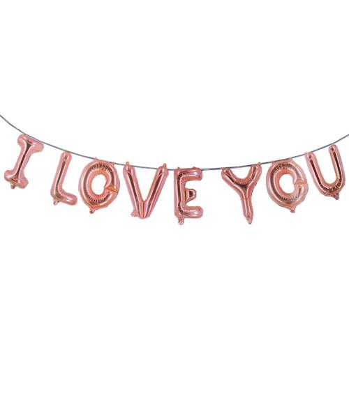 "[Love] 16"" I Love You Alphabet Foil Balloons Banner - Rose Gold"