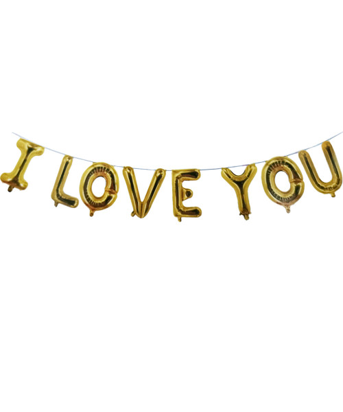 "[Happy Valentine's Day] 16"" I Love You Alphabet Foil Balloons Banner - Gold"