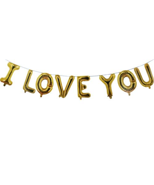 "[Love] 16"" I Love You Alphabet Foil Balloons Banner - Gold"