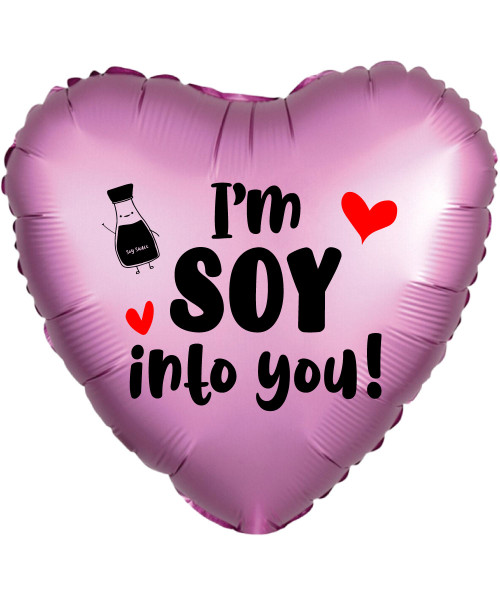 "[Happy Valentine's Day18"" Personalised Satin Luxe Flamingo Heart Foil Balloon - I'm Soy Into You!"