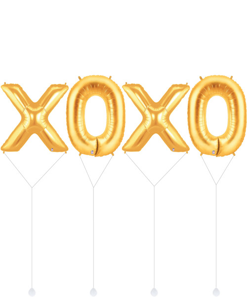 "[Happy Valentine's Day] 40"" Giant Alphabet ""XOXO"" Foil Balloon - Gold"