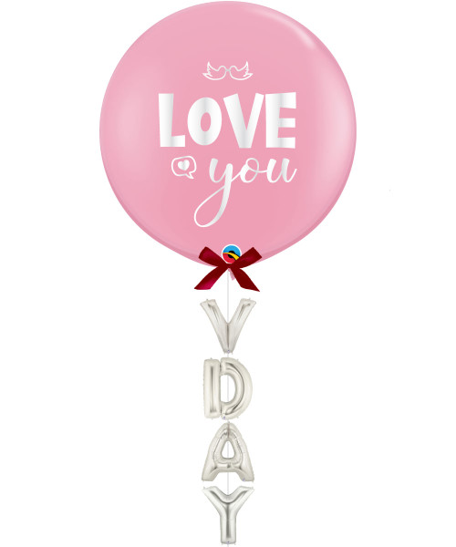 "[Happy Valentine's Day] 36"" Love You Jumbo Perfectly Round Latex Balloon styled with 16"" Alphabet VDAY Foil Balloons - Pink"
