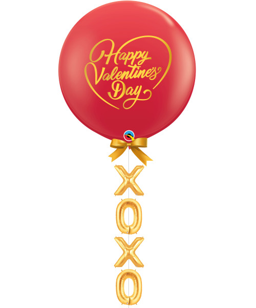 "[Happy Valentine's Day] 36"" Happy Valentine's Day Jumbo Perfectly Round Latex Balloon styled with 16"" Alphabet XOXO Foil Balloons - Red"
