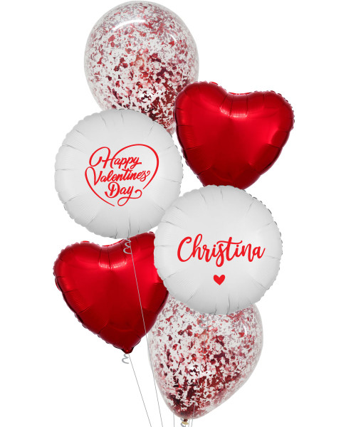 [Happy Valentine's Day] Personalised Name Happy Valentine's Day Metallic Red Confetti Balloons Bouquet