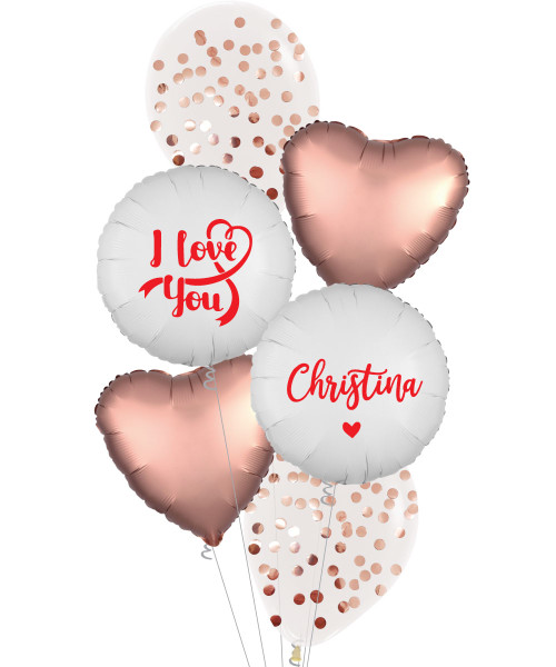 [Happy Valentine's Day] Personalised Name I Love You Metallic Rose Gold  Round Confetti(1cm) Balloons Bouquet