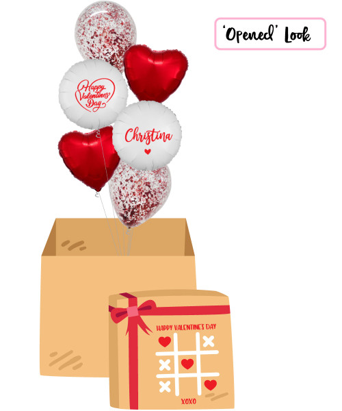 [Happy Valentine's Day Surprise Box] Personalised Name Happy Valentine's Day Metallic Red Confetti Balloons Bouquet
