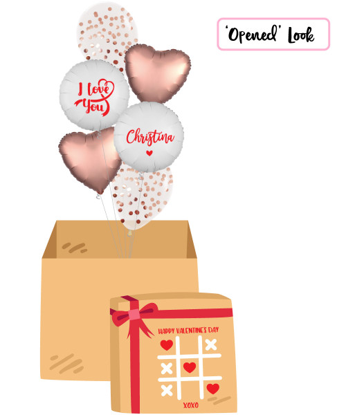 [Happy Valentine's Day Surprise Box] Personalised Name I Love You Metallic Rose Gold Round Confetti(1cm) Balloons Bouquet