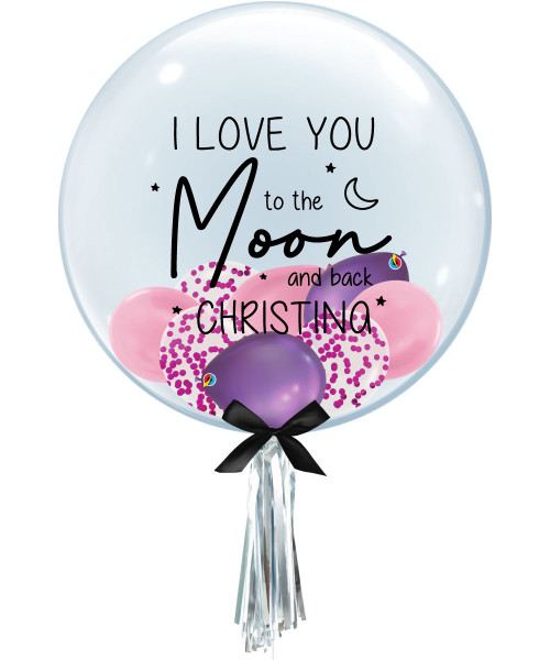 "[Happy Valentine's Day] Personalised Name I Love You to the Moon and Back 24"" Crystal Clear Transparent Balloon - Mini Confetti & Metallic Latex Balloons Filled"