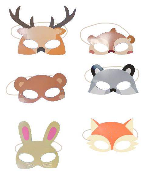 Woodland Animal Masks Photobooth Props (12pcs/Set) - 6 Designs