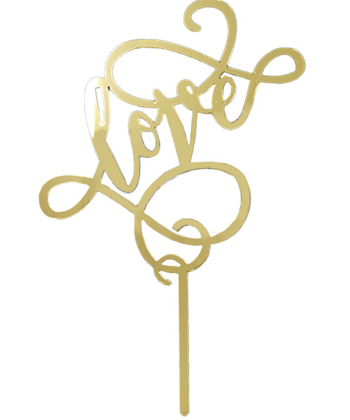 Love Acrylic Cake Topper - Gold
