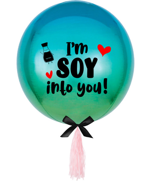 "[Happy Valentine's Day] Personalised 16""/41cm Sphere Shaped Balloon (Ombré Blue & Green) - I'm Soy Into You!"