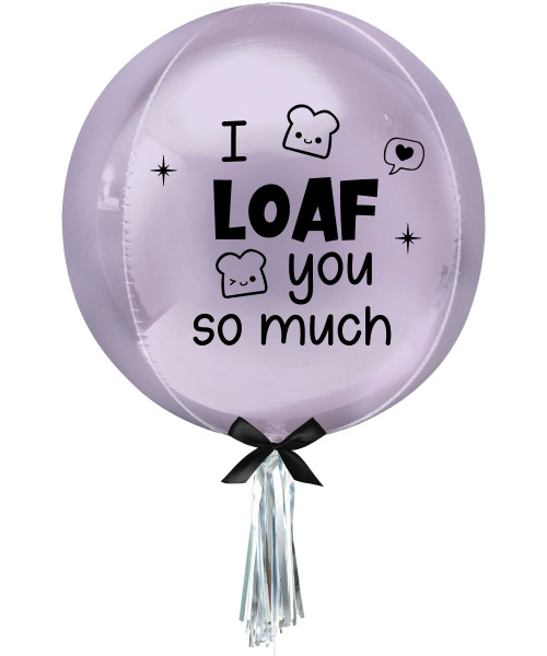 "[Happy Valentine's Day] Personalised 16""/41cm Sphere Shaped Balloon (Pastel Lilac) - I Loaf You So Much"