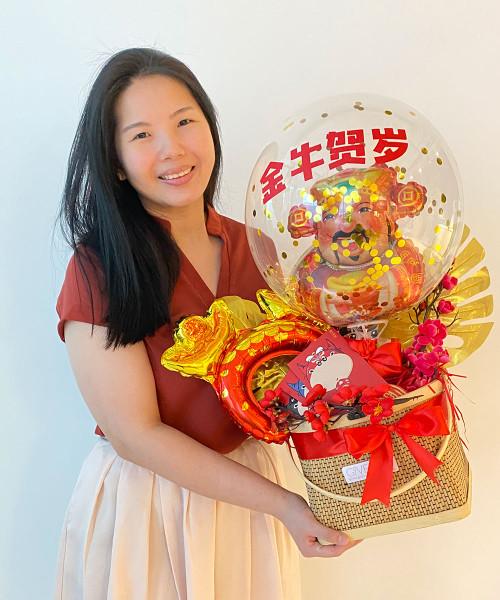 [CNY 2021] CNY Décor & Balloons Gift Basket - Joyous God of Fortune 财神爷 金牛贺岁