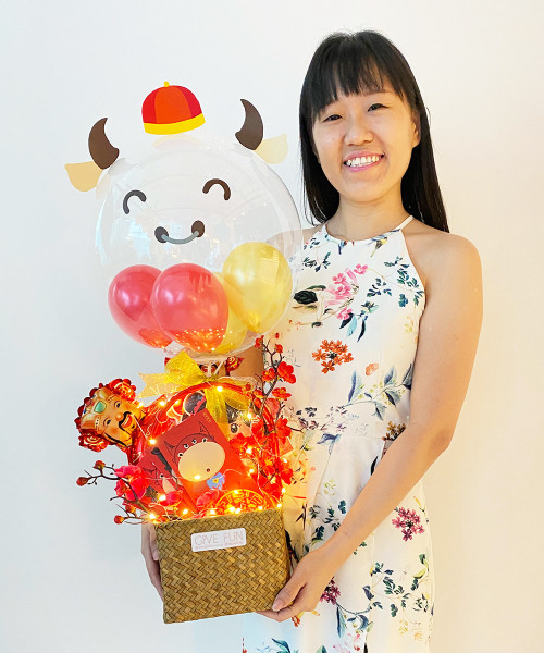 [CNY 2021] CNY Décor & Balloons Gift Basket - Year Of The Oz 牛年大吉