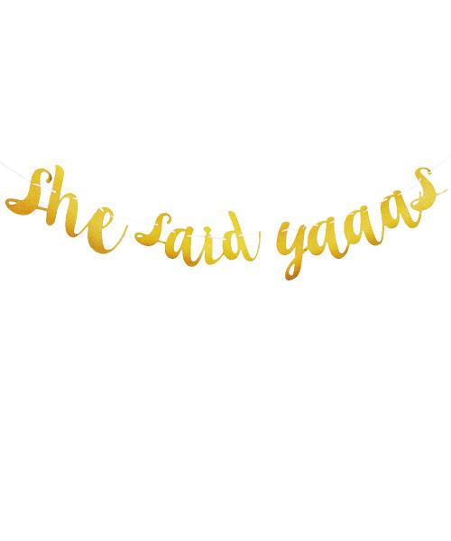 [Bachelorette] She Said Yaaas Paper Bunting (2.5meter) - Glittery Gold