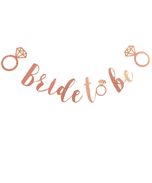 [Bachelorette] Bride To Be Paper Bunting (0.8meter) - Glittery Rose Gold
