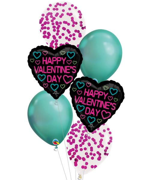 [Happy Valentine's Day] Neon Valentine Metallic Fuchsia Round Confetti Balloons Bouquet