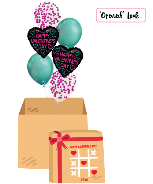 [Happy Valentine's Day Surprise Box] Neon Valentine Metallic Fuchsia Round Confetti Balloons Bouquet