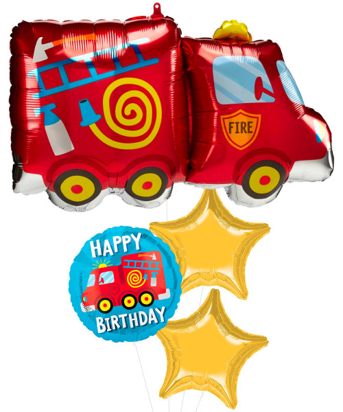 [Transportation] Fire Truck Metallic Star Foil Balloons Bouquet