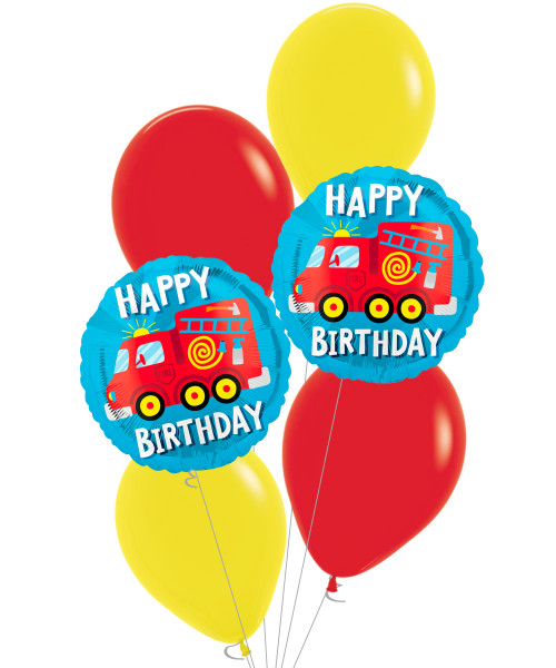 [Transportation] Happy Birthday Fire Engine Truck Balloons Bouquet