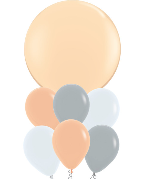 36'' Jumbo Perfectly Round Balloons Cluster - Fashion Colors