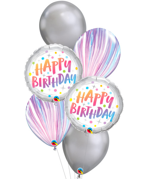 [Party] Happy Birthday Rainbow Dots Chrome Silver Balloons Bouquet