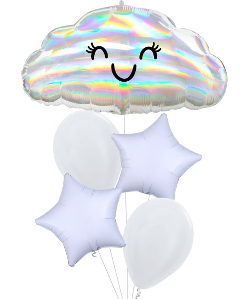 [Party] Iridescent Cloud Star Balloons Bouquet