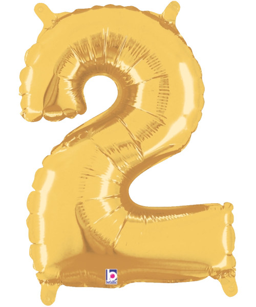 "14"" Small Number Foil Balloon (Gold) - Number '2' (B34842G)"
