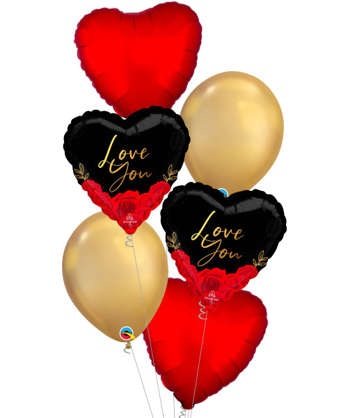 [Happy Valentine's Day] Love You Romantic Roses Chrome Gold Balloons Bouquet