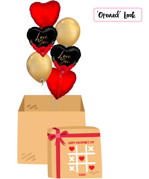 [Happy Valentine's Day Surprise Box] Love You Romantic Roses Chrome Gold Balloons Bouquet