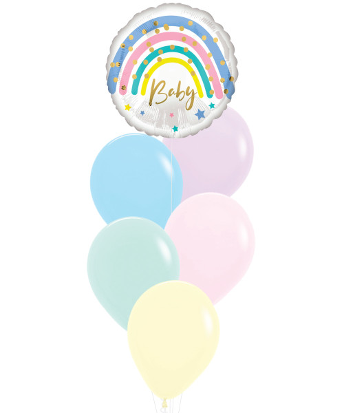 [Welcome, Little One!] Pastel Rainbow Baby Macaron Balloons Bouquet
