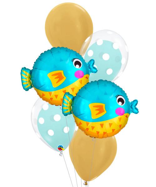 [Sea Creature] Bubbly Sea Creature Puffer Fish Bubble Fun Balloons Bouquet