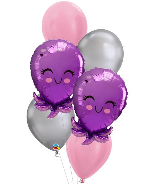 [Sea Creature] Bubbly Sea Creature Octopus Chrome Silver Balloons Bouquet