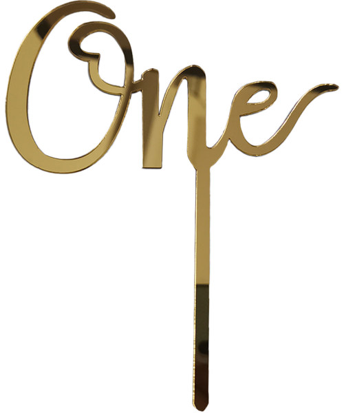 [Baby] 'One' Acrylic Cake Topper - Gold