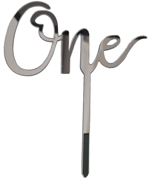 [Baby] 'One' Acrylic Cake Topper - Silver