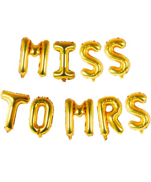 """[Bachelorette] 16"""" Miss to Mrs Alphabet Foil Balloons Banner - Gold"""