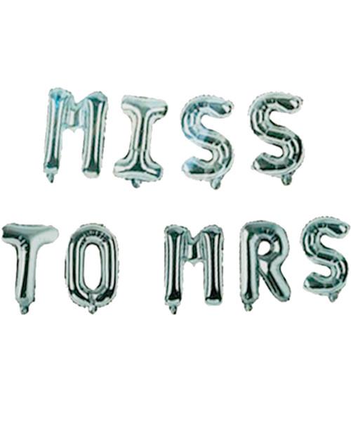 """[Bachelorette] 16"""" Miss to Mrs Alphabet Foil Balloons Banner - Silver"""