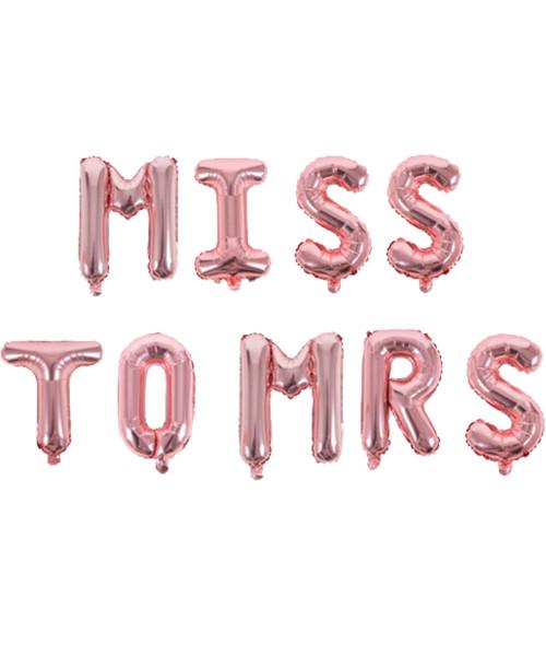 """[Bachelorette] 16"""" Miss to Mrs Alphabet Foil Balloons Banner - Rose Gold"""