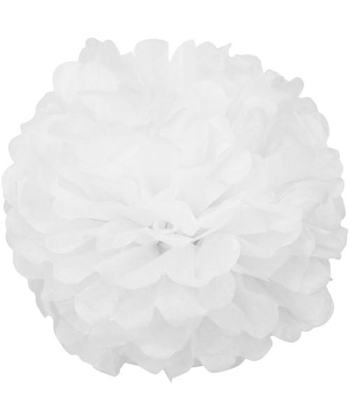Paper Flower Pom Pom (15cm) - White